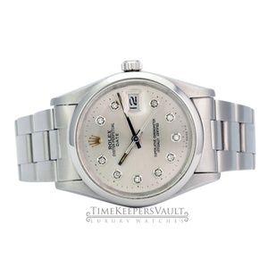 Rolex Accessories - Rolex Oyster Perpetual Date Silver  Diamond Dial